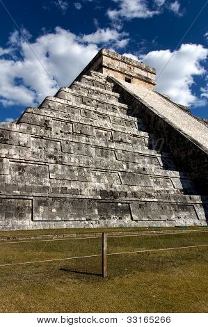 Wide-angle View Of Kukulkan Pyramid At Cichen Itza