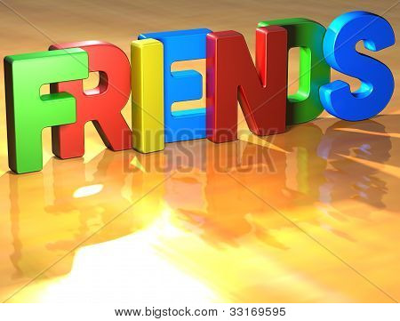 Word Friends On Yellow Background