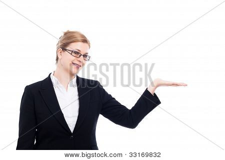 Cheerful Businesswoman Presentation
