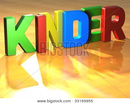 Word Kinder On Yellow Background