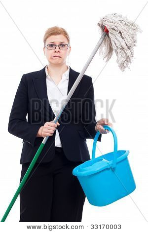 Unhappy Businesswoman Cleaning