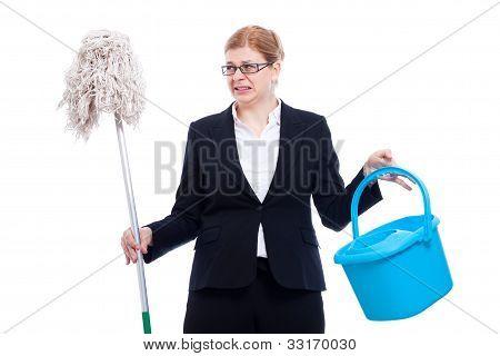 Infeliz empresária revoltada limpeza