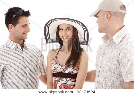 Pretty woman in straw hat surrounded by men in casual summer clothes, smiling, cutout.