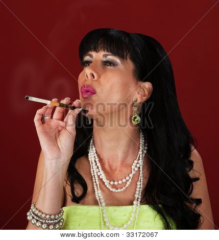 Woman Makes Smoke Rings