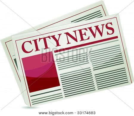 City news newspaper illustration design over a white background