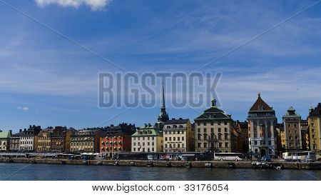 Palaces Of Stockholm Old Town Facing The Water