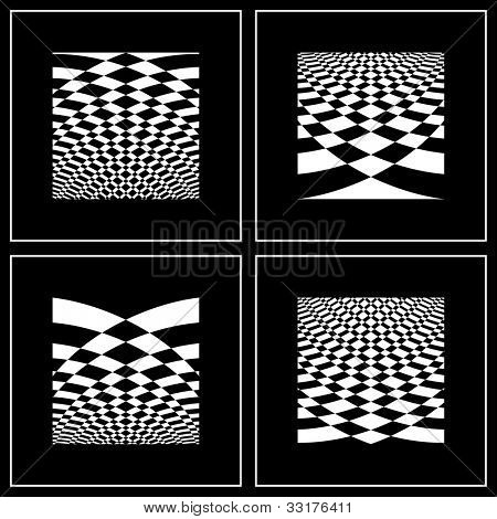Set of abstract backgrounds in op art style. Vector art.