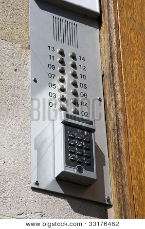 intercom on a brick wall