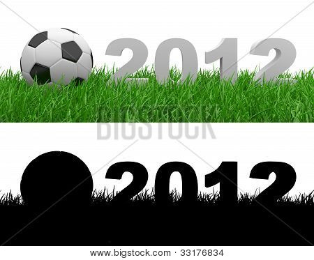 Soccer Ball On Green Grass. 2012