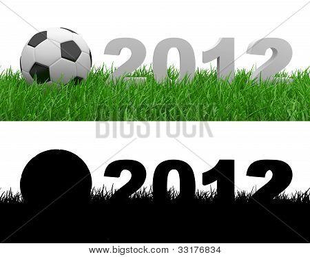 Soccer Ball On Green Grass. 2012