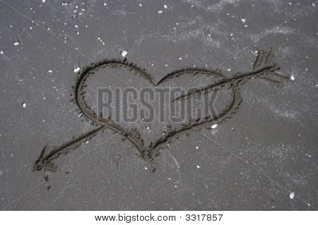 Heart Sign Written On Wet Sand