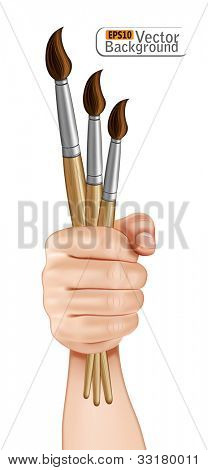 Hand holding paint brushes.vector
