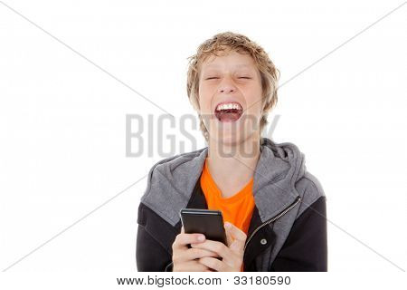 child laughing reading message on cell or mobile phone