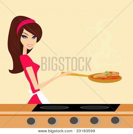 Beautiful housewife cooking meat