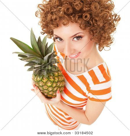 fun woman with pineapple on the white background