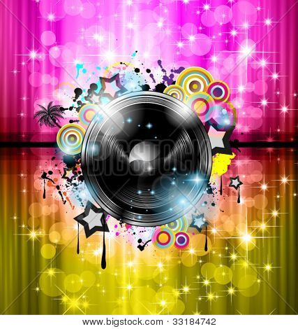 Music Club background for disco dance international event with a lot of design elements. Ideal for posters, flyers and advertising panels.
