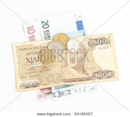 Greek Drachma And Coins And Euro Banknotes