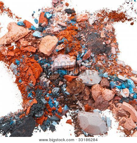 mixed crushed eyeshadows isolated on white background