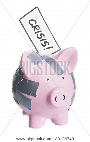 broken piggy bank with crisis label isolated on white 2