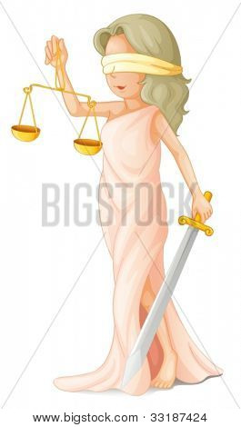 Illustration of blind justice concept