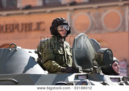 ST. PETERSBURG, RUSSIA - MAY 8: Armoured personnel carrier on Nevsky Avenue during the rehearsal of Victory Day Parade in St. Petersburg, Russia at May 8, 2012