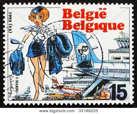 Estampilla Bélgica 1993 Air Hostess Natacha, por Francois Walt