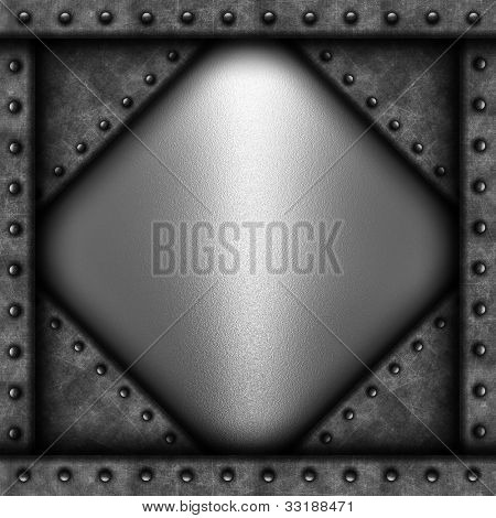 Grunge background with concrete and metal texture with rivets