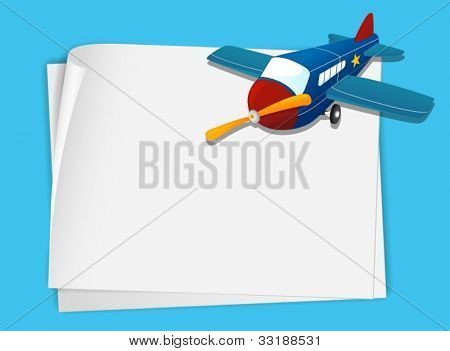 Illustration of a plane on white paper