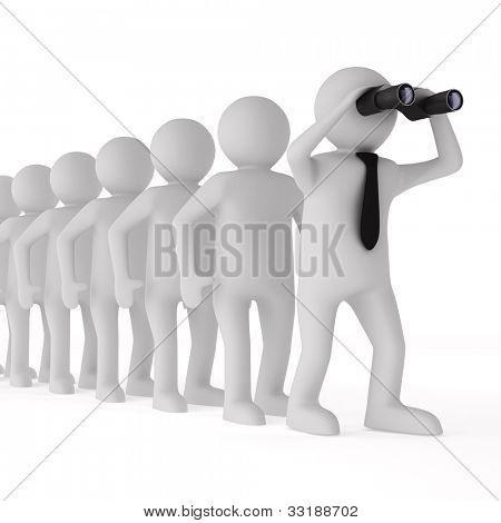 Conceptual image of leadership. Isolated 3D on white