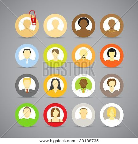 Collection of vector account icons of men and women. Different nationalities