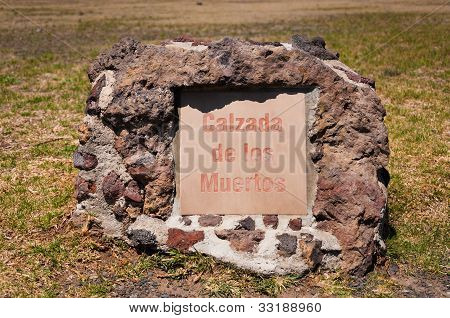 Avenue Of The Dead Or Calzada De Los Muertos Stone In Teotihuacan Near Mexico City