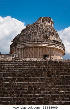 Chichen-itza El Caracol Mayan Observatory On Yucatan In Mexico