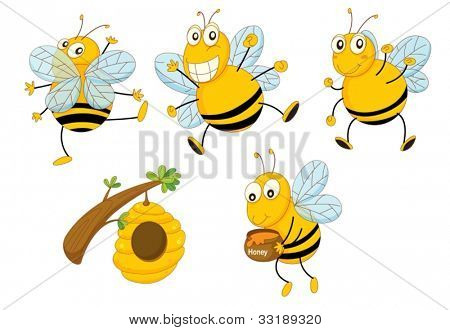 Illustration of a set of funny bees