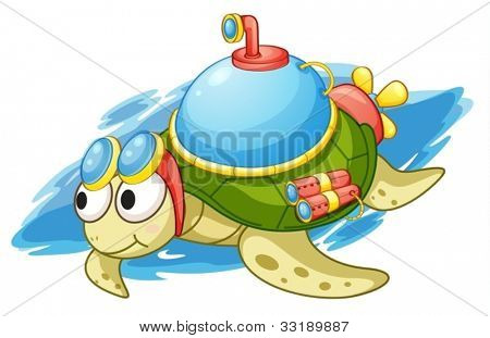 illustration of a turtle with enhancements