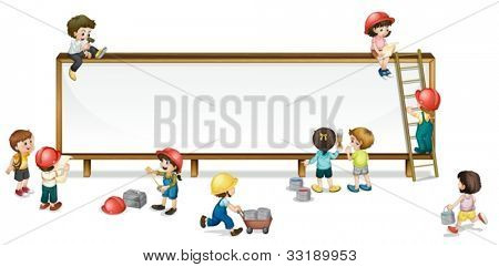 Illustration of kids constructing a banner