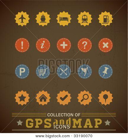 Retro Gps und Karte Symbolsatz. Vektor-Illustration.