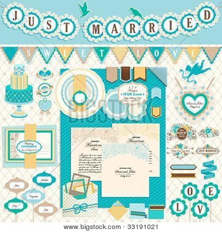Wedding`s Day scrapbook elements. Vector illustration.