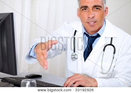 Senior Trustworthy Doctor Greeting