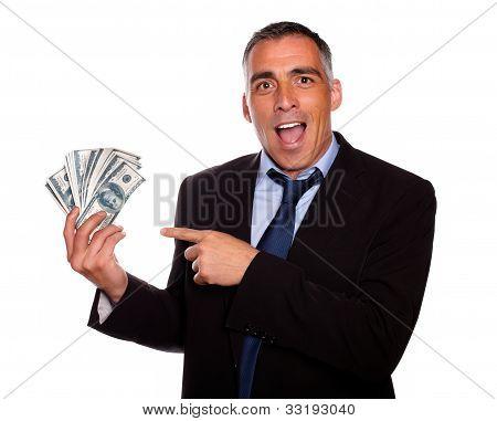 Ambitious Executive Holding Cash Money
