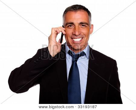 Attractive Businessman Speaking On Mobile