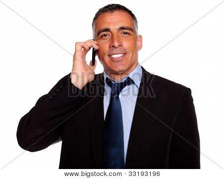 Charismatic Businessman Speaking On Cellphone
