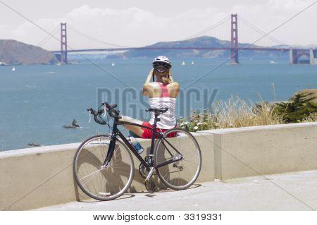 Golden Gate Bridge With Bicyclist