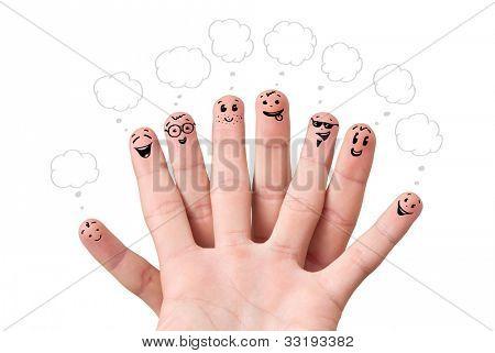 Emoticons de dedo feliz com balões de fala.