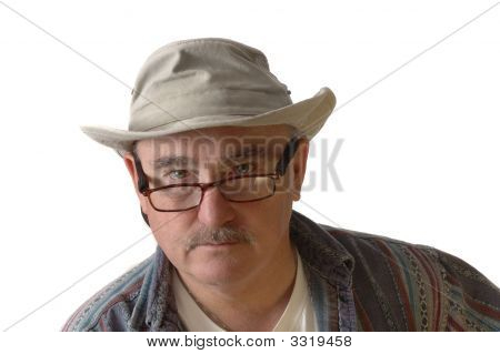Casual Baby-Boomer In Hat And Glasses