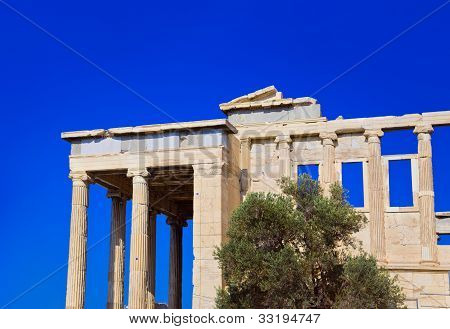 Erechtheum Temple In Acropolis At Athens, Greece