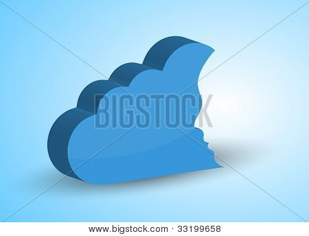 Vector Concept Cloud With Face On Blue. Eps10