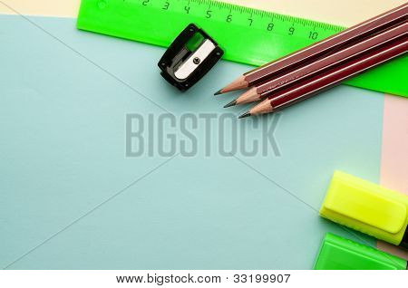 Blue Empty Sheet With Stationery Objects.