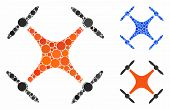 Airdrone Mosaic Of Small Circles In Different Sizes And Color Tones, Based On Airdrone Icon. Vector  poster
