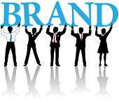 Marketing people team hold up letters cooperate to build Brand identity poster