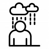 Rainy Depression Man Icon. Outline Rainy Depression Man Vector Icon For Web Design Isolated On White poster